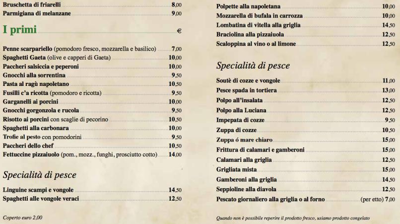 Italiaanse menukaart